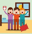 cute boy and girls waking up hugging in bedroom vector image