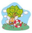 cute little bee with swimsuit and float in the vector image