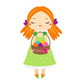 easter kid cartoon girl holding easter eggs vector image
