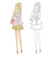 Fashion girl sketch vector image vector image