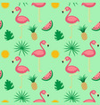 flamingotropical fruits seamless pattern vector image