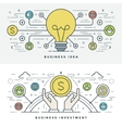 Flat line Business Idea and Investment vector image vector image