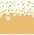 Flowing Ice Cream on waffle vector image vector image