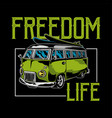 freedom life car print vector image vector image
