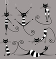 Funny striped cats collection for your design vector image