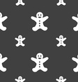 Gingerbread man icon sign Seamless pattern on a vector image vector image