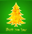 golden and glowing christmas tree isolated vector image