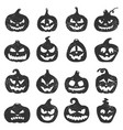 hand drawn halloween pumpkins pumpkin black vector image