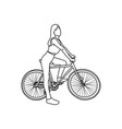 healthy woman with sport bicycle vector image vector image