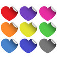 heart stickers in different colors vector image vector image