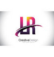 lr l r purple letter logo with swoosh design vector image vector image