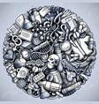 medicine hand drawn doodles vector image vector image