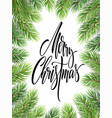 merry christmas hand drawn lettering in fir-tree vector image vector image