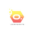 o orange hexagon shaped letter logo with bubbles vector image