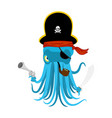 octopus pirate devilfish in pirate hat saber and vector image vector image
