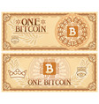 one bitcoin abstract banknote vector image vector image