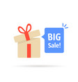 open gift box with big sale bubble vector image vector image