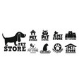 open pet store logo set simple style vector image vector image