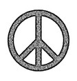 peace symbol hand drawn brush vector image