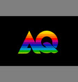 rainbow color colored colorful alphabet letter aq vector image vector image