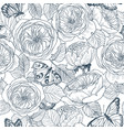 seamless pattern of wild roses blossom branch and vector image vector image