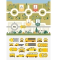 Set cars buildings and highways map vector image
