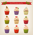 set of cute hipster Christmas cupcakes vector image