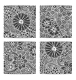 Set of ornamental ethnic black and white zendoodle vector image vector image