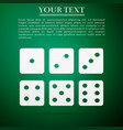 set of six dices flat icon on green background vector image vector image