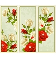 set rose vertical banners vector image