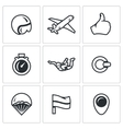 set skydiving icons helmet plane vector image