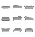 sofa cartoon collection in flat style gray couch vector image