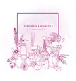square border decorated with perfume or toilet vector image