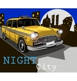 taxi on the background of night city vector image vector image