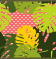 tile tropical pattern with exotic leaves on dots vector image