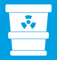 Trashcan containing radioactive waste icon white vector image
