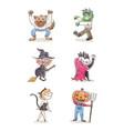 variety halloween characters set vector image vector image