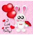 Wedding card with cute cartoon rabbits in love vector image vector image