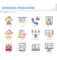 work from home icon set vector image