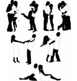 young lovers silhouette vector image vector image