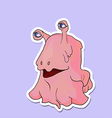 Cartoon monsters pink - eyed snail on a purple vector image