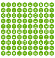 100 beauty salon icons hexagon green vector image vector image