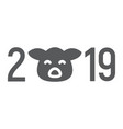 2019 pig year glyph icon celebration vector image vector image