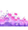 abstract purple musical mosaic vector image vector image