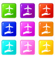 airplane and palm set 9 vector image vector image