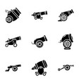 artillery installation icons set simple style