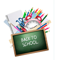 Back to school Background with colorful supplies vector image vector image