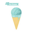 blue ice cream in cone blueberry taste vector image