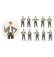 businessman character set business people showing vector image
