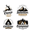 Campaign logo or label hiking trip hike icon set